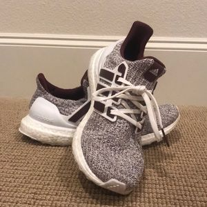 Maroon and White Ultra Boosts